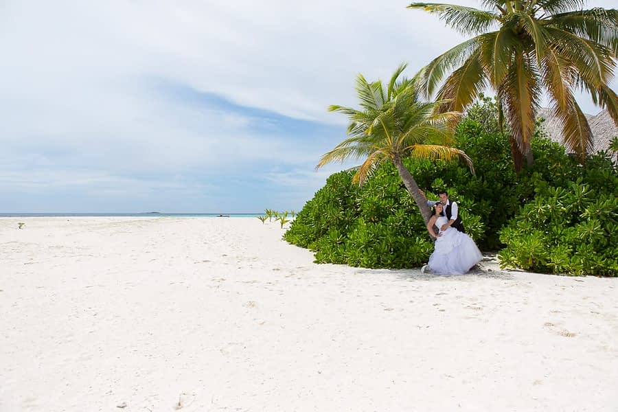 Brautpaar unter Palmen am Strand